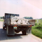 Unsecured load shifting in truck bed-no tail gate